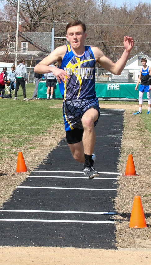 Cole Siems of Tri County finished second in the triple jump at the Wilber-Clatonia Invitational March 30.