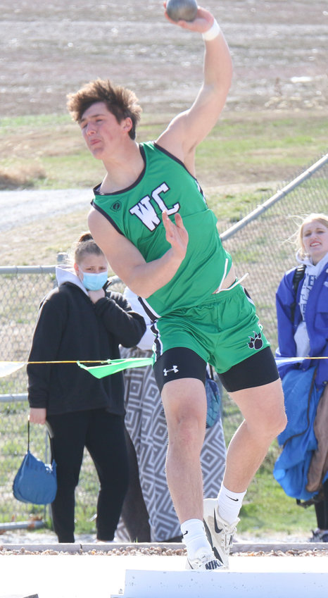Tyson Kreshel of Wilber-Clatonia was the shot put champion at the Wilber-Clatonia Invitational March 30.