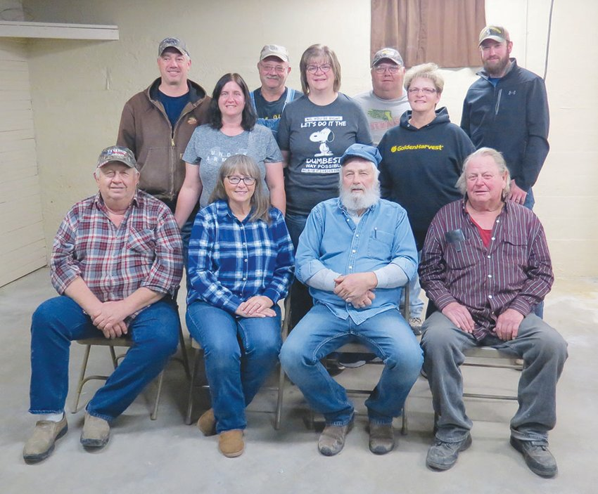 Saline Lodge Officers for 2021 from left, are: (front row) Don Homolka, Lorraine Kohout, Arnie Homolka and Lumir Kotas; (middle row) Katie Zoubek, Beth Horak and Judy Kohout; and (back row) Brian Zoubek, Doug Horak, Russ Zoubek and Brandon Zoubek.