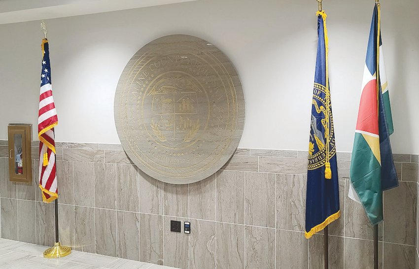 A concrete slab formed in the shape of Saline County's seal was attached near the front entrance of the courthouse in Wilber on Jan. 12. Pictured is the final result.