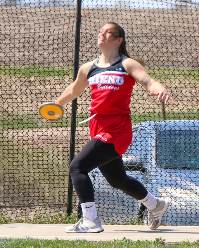 Friend's Megan Rumery competes in the discus April 9 at the Meridian Invitational.