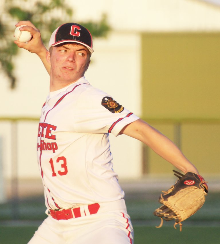 Crete Post 147 Stop 'N Shop pitcher Jaxson Dittmer delivers a pitch during a game June 16.