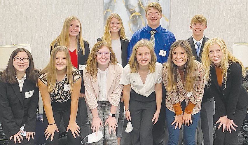 Tri County FBLA members attended the Fall Leadership Conference in Kearney. Shown, from left: (front row) Ema Ziegler, Addison Paxton, Jazmin Dike, Payton Smidt, McKenzie Smith and Ella Clark; and (second row) Kenzie Strein, Evelyn Baker, Jackson McNiff and Ben Holsing.