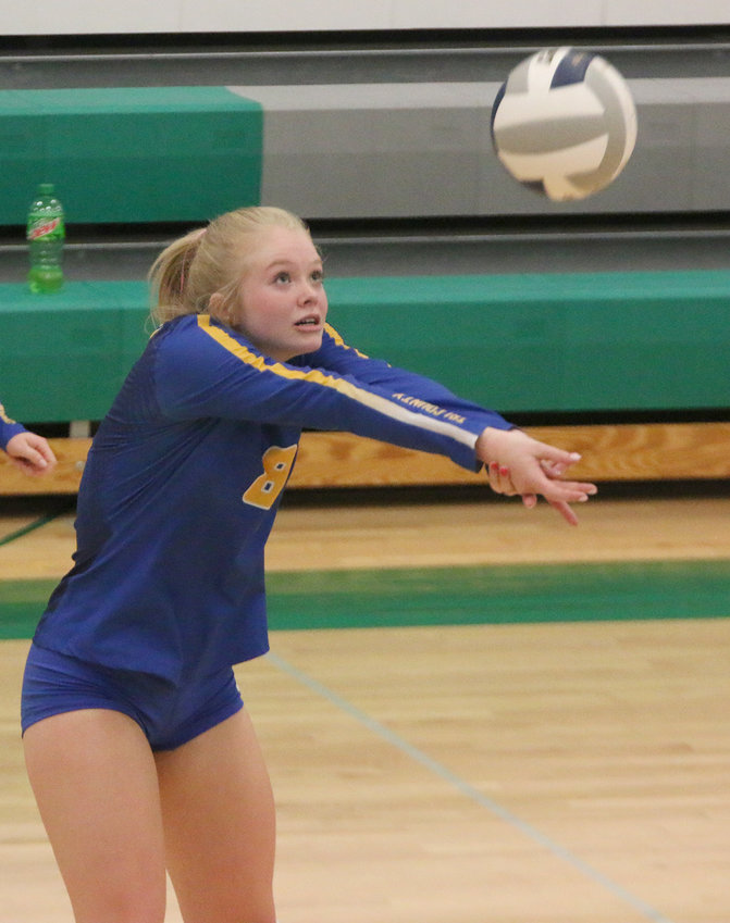 Morgan Stokebrand of Tri County passes the ball to the setter during a match against Wilber-Clatonia Oct. 5.