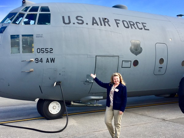 Taylorsville resident Rita Nadeau participates in the 94th Airlift Wing Boss Lift March 23.