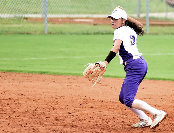 Cartersville shortstop Cio Seigler throws across the diamond during Game 1 of a doubleheader with Troup County at home Saturday.