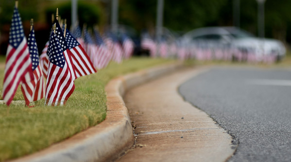 American flags line both sides of Main Street in Cartersville from I-75 to Joe Frank Harris Parkway in memory of 9/11.