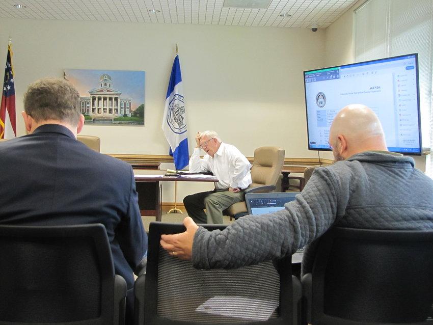 Bartow County Transportation Planner Tom Sills, middle, leads Wednesday's Cartersville-Bartow Metropolitan Planning Organization meeting.