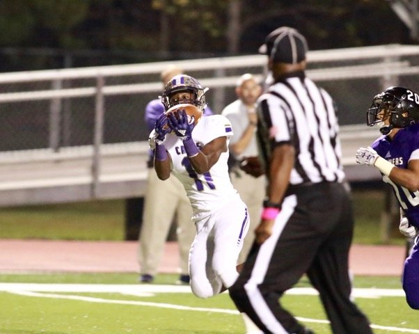 Cartersville junior Marquail Coaxum hauls in a 49-yard touchdown pass during Friday's 51-0 win over Chapel Hill.