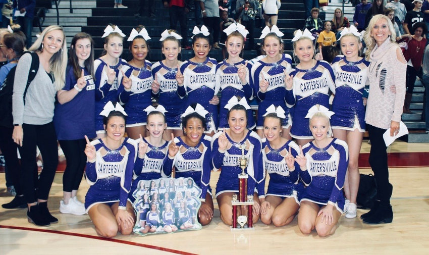The Cartersville cheerleading squad earned first place in the Class 4A division during Saturday's competition at Hillgrove.