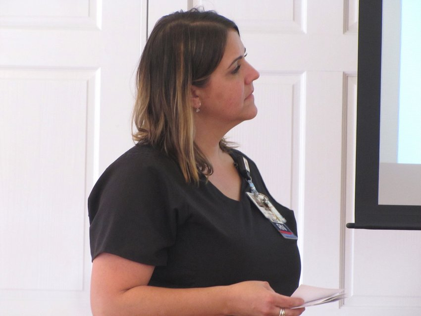 The Hope Center oncology nurse navigator Michelle Perry speaks at Tuesday's Bartow Business Women Luncheon.