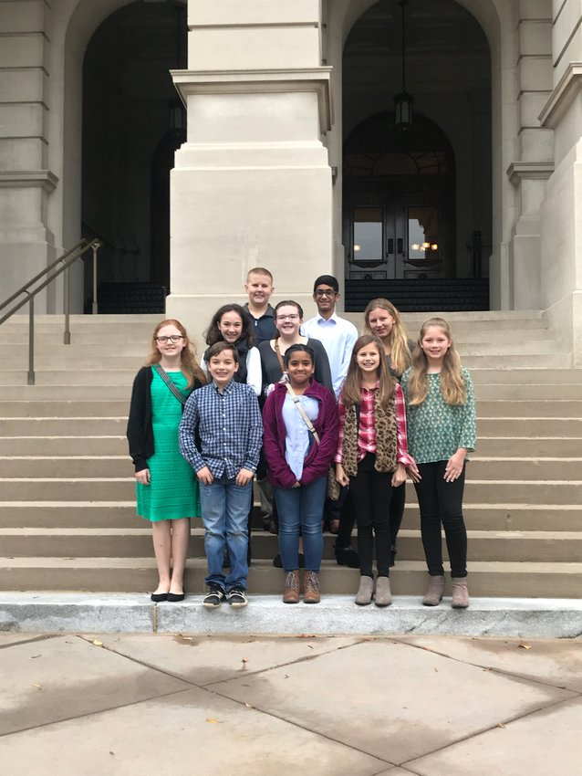 Cartersville Middle student council members attending the Georgia Association of Student Councils Leadership Summit Nov. 5 at the State Capitol were, front from left, Grace Belisle, Ben Caswell, Luz Santamaria, Kate Hewlett and Katherine Bowen; middle from left, Gillian Bergman, Anna Rackley and Emily Ireland; and, back from left, Hunter Kelly and Sahaj Patel.