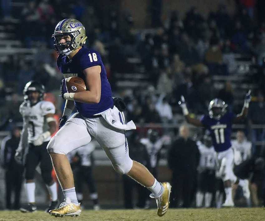 Cartersville junior tight end Jackson Lowe scored three touchdowns, including this wide-open score, in Friday's Class 4A state second-round playoff game against Ridgeland at Weinman Stadium.