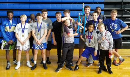 The Cass Middle School wrestling team placed first in its first competition of the season Saturday at Cass High.