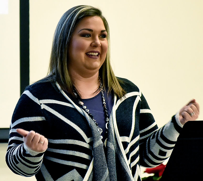 Bartow County School System's Teacher of the Year Kaylie Noe spoke at Thursday's Eggs and Issues event in Adairsville.