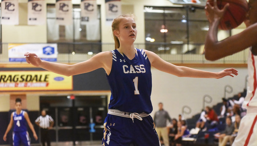 Cass freshman Claire Davis guards an inbounds pass against Paulding County during Friday's road game. Davis finished with 22 points in a 72-38 win for the No. 8-ranked Colonels.