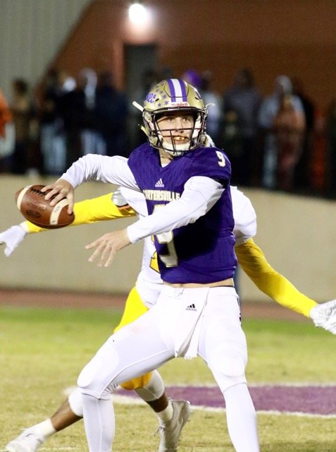 Cartersville junior Tee Webb prepares to throw a pass against Troup County during a home game earlier this season at Weinman Stadium. Webb will lead the Canes against Blessed Trinity in the Class 4A state championship game at 4:30 p.m. Wednesday at Mercedes-Benz Stadium in Atlanta.