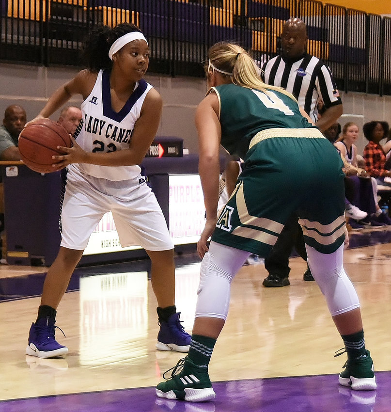 Cartersville sophomore Jamiya Moore surveys the floor as Adairsville senior Havyn Isaac defends during Saturday's game between the Bartow County rivals. Moore finished with nine points on three 3-pointers in a 49-35 win for the Canes.