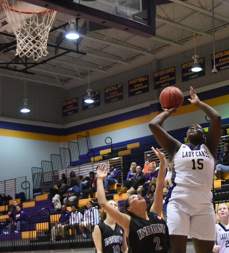 Cartersville senior London Shaw goes up for a shot during Saturday's home game against Chattooga. Shaw finished with 16 points and 11 rebounds in a 52-32 win.