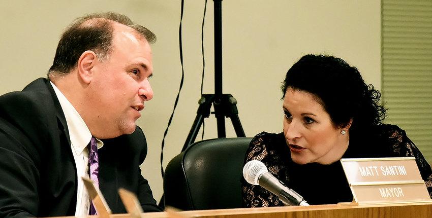 From left, mayor Matt Santini and city manager Tamara Brock at Thursday evening's Cartersville City Council meeting.