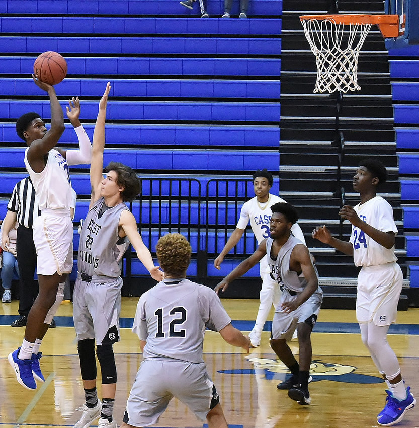 Cass senior Jacquez Fountain pulls up for a jump shot against East Paulding during Saturday's home game.