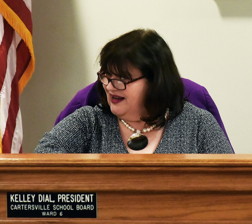Kelley Dial was unanimously re-elected as president of the Cartersville City School Board at its first meeting of 2019 Monday evening.