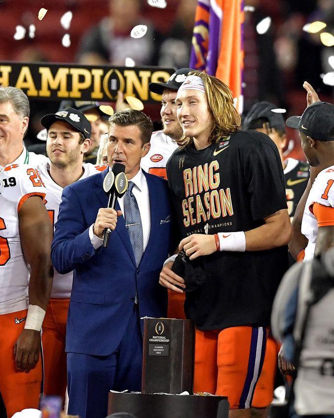 Former Cartersville High School and current Clemson quarterback Trevor Lawrence is interviewed on stage by ESPN's Rece Davis after Clemson's 44-16 win over Alabama in the College Football Playoff National Championship Game.