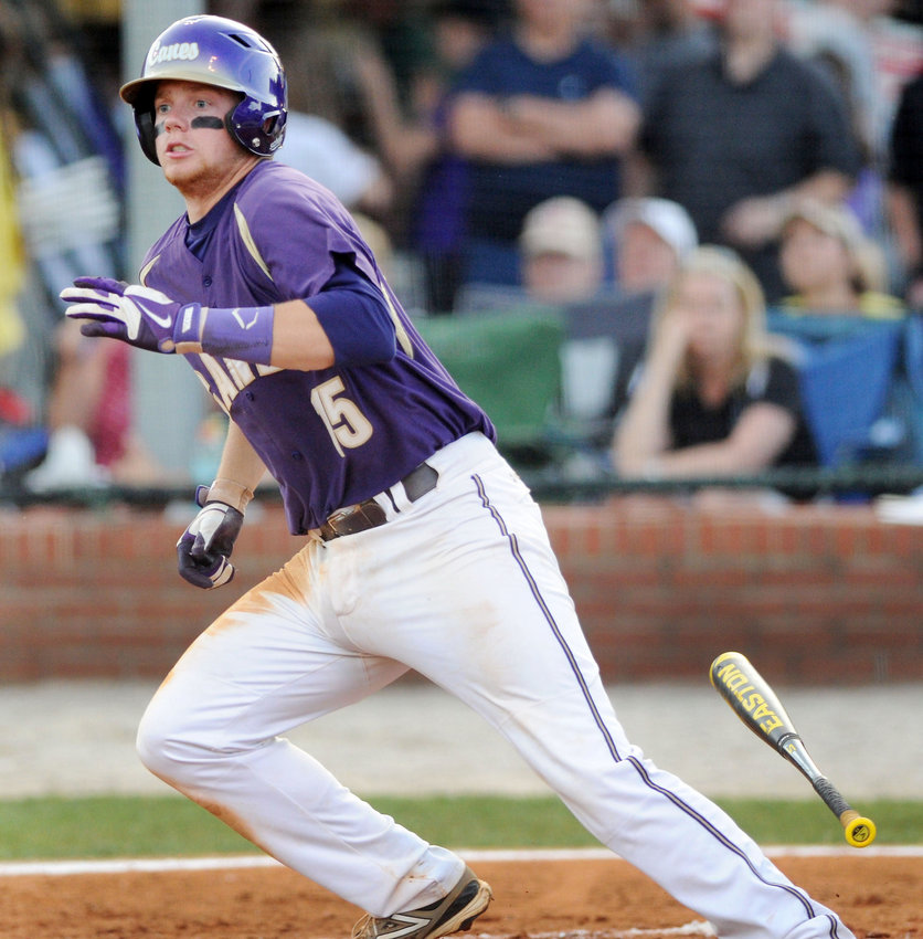 Former Cartersville shortstop Connor Justus runs out of the batter's box during the state championship series in 2014 at Richard Bell Field.
