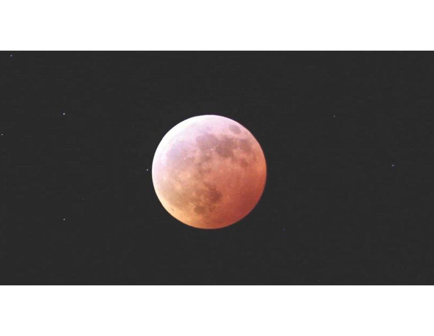 The lunar eclipse as seen from downtown Cartersville.