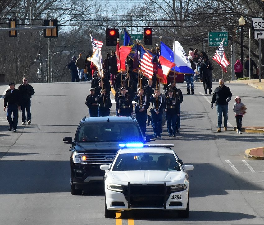 The Martin Luther King Jr. Holiday Celebration parade makes its way down Main St. in Cartersville Monday afternoon.