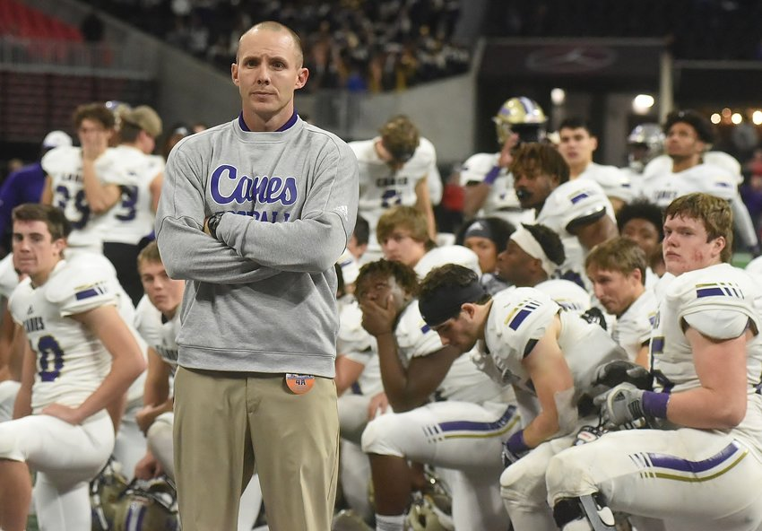 Cartersville High head football coach Joey King after the 2018 state championship game at Mercedes-Benz Stadium on Dec. 12.
