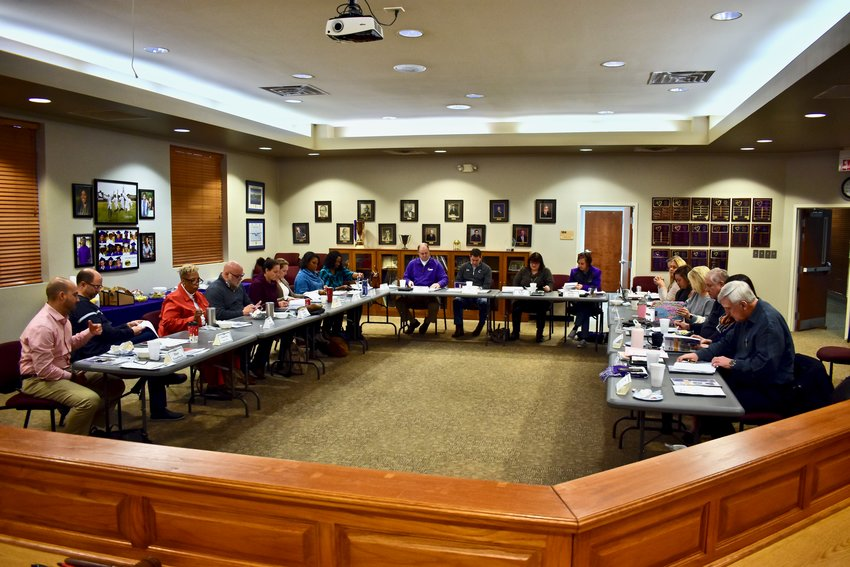 Cartersville School Superintendent Dr. Marc Feuerbach, Assistant Superintendent Ken Clouse, school board members, principals and department directors met Saturday morning at the central office for a three-hour retreat.
