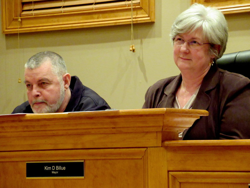 Councilman Dennis Huskins and Mayor Kim Billue at Monday evening's White City Council meeting.