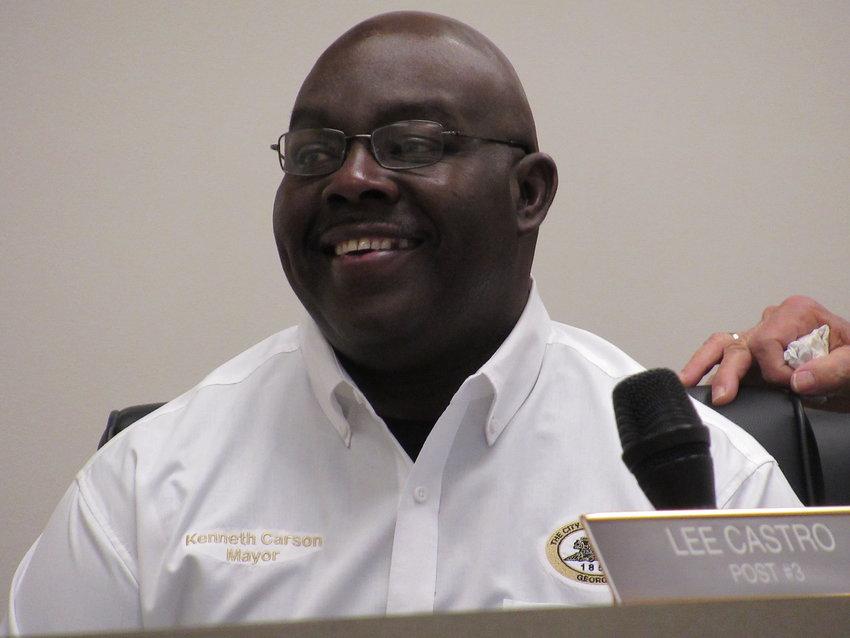 Mayor Ken Carson presides over Thursday evening's Adairsville City Council meeting.