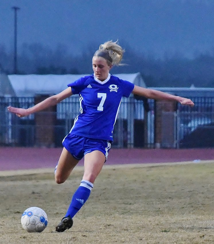Logan Vermaas passes the ball during Friday's game at home against Sonoraville. Vermaas scored one goal in the game, while Lupita Pineda scored two goals, Leidi Toribio had a goal and an assist, and Madison Shook had three assists in the 4-3 win.