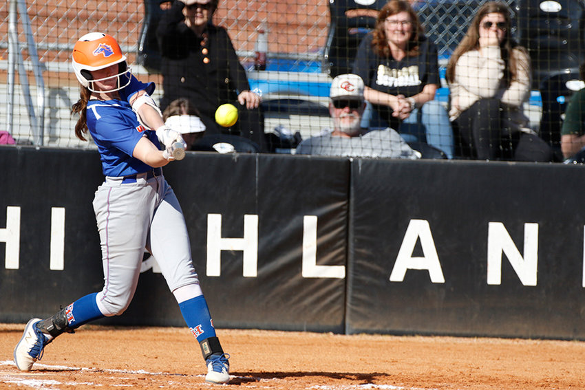 Georgia Highlands College freshman Haley Robinson bats during a recent home game for the Chargers. Robinson finished 2-for-4 with a run scored and two RBIs during her only start of the past weekend, during which time GHC went 2-2 in Gulf Shores, Alabama.