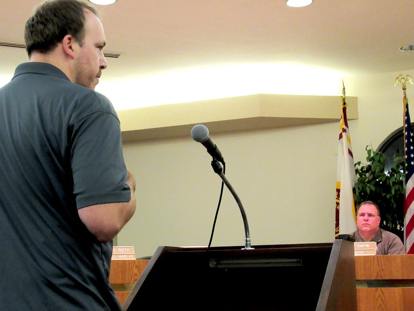 Dean Kimberly, a co-owner of Drowned Valley Brewing Co., speaks at Thursday night's Cartersville City Council meeting.