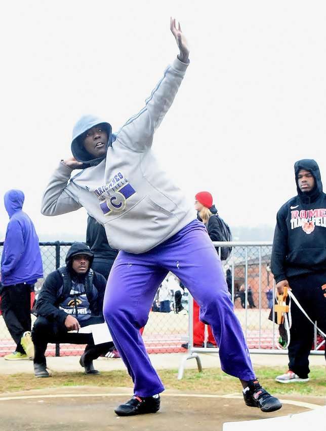 Cartersville's London Shaw won the girls shot put Saturday at the Purple Hurricane Invitational at Weinman Stadium with a throw of 37 feet, 7 inches.