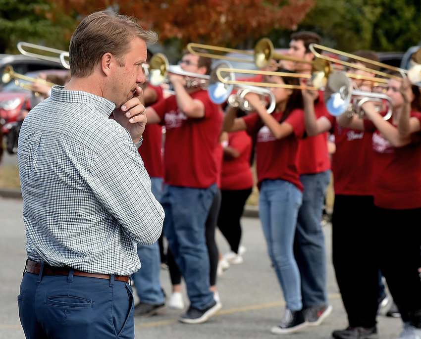 Woodland High School band director Eric Willoughby watched as his band went through a rehearsal in November 2018 before departing for New York to participate in the Macy's Thanksgiving Day Parade.