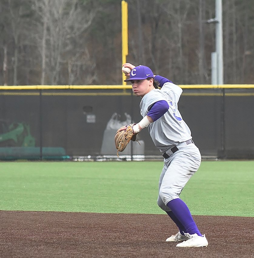 Cartersville second baseman Josh Davis throws to first to get a Pepperell runner during the semifinals of the Battle for Bartow Baseball Classic Saturday at LakePoint. Davis finished 5-for-12 with two doubles, three runs scored and four RBIs in the tournament.