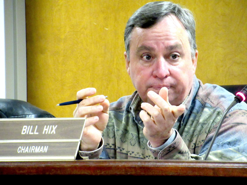 Bartow County Planning Commission Chair Bill Hix presides over Monday's public meeting at the Frank Moore Administration and Judicial Center in Cartersville.