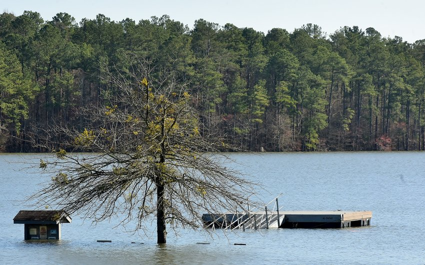 Extremely high water levels in Lake Allatoona have left boat landings and swimming areas in south Bartow County submerged.