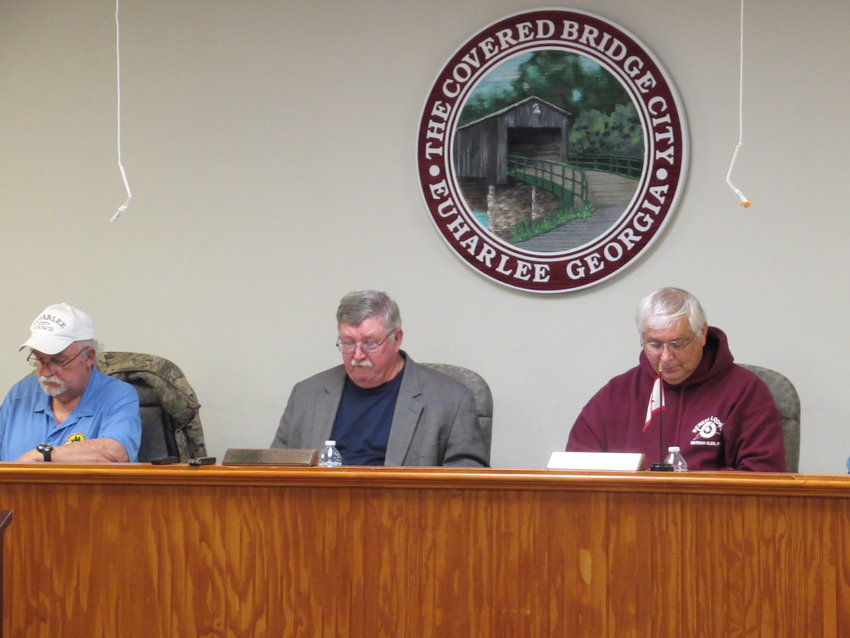 From left, Councilman David Duncan, Mayor Steve Worthington and Councilman Tracy Queen at Tuesday's Euharlee City Council meeting.