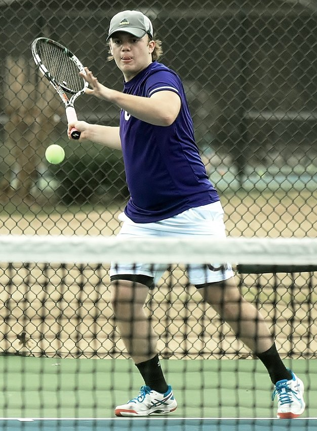 Cartersville Line 1 singles player Will Allen prepares to return a forehand in his match against Central-Carroll Thursday at Dellinger Park.