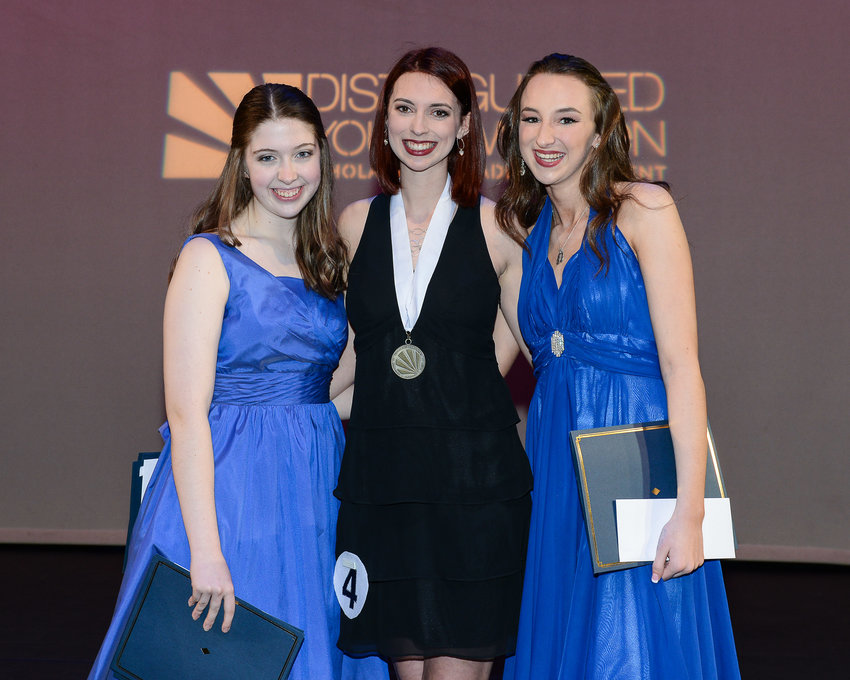 """Distinguished Young Woman of Bartow County Abigail """"Abby"""" Matthews, center, is joined by second honoree Neleh McGivern, left, and first honoree, Anna Catherine Womack."""
