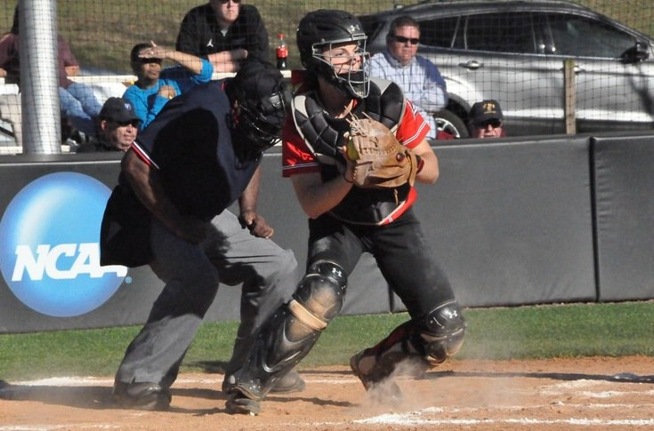 Woodland High graduate Sydney Hodorff prepares to throw out a baserunner during a game against Covenant on March 23. Hodorff had a home run and a double during a game last week against Agnes Scott.