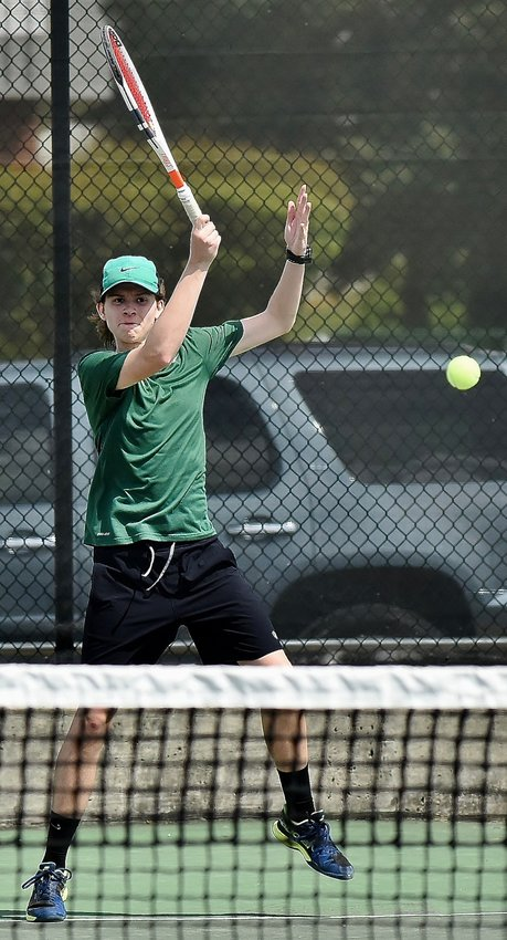 Adairsville Line 1 singles player Jack Bates battles during Thursday's third-place match in the Region 6-AAA tournament at Calhoun. Bates and the Tigers fell to Sonoraville, locking up the No. 4 seed in the Class 3A state tournament for Adairsville.