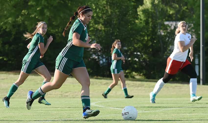 Adairsville's Sadye Johnson dribbles upfield during Tuesday's match against Lakeview-Fort Oglethorpe in Tiger Valley.