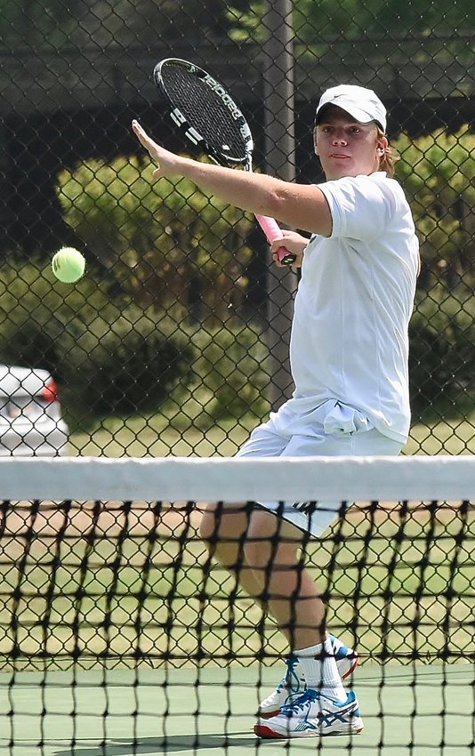 Cartersville Line 1 player Will Allen prepares to hit a forehand during Wednesday's match against Marist at Dellinger Park. Allen won the first set but didn't get to finish his match, as the War Eagles won 3-0 to advance to the quarterfinals of the Class 4A state tournament.