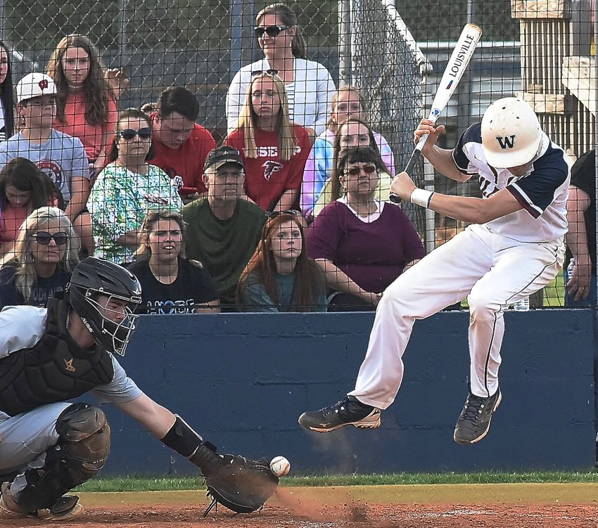 Woodland senior Ben Ammons was unable to avoid being hit by a pitch in Wednesday's home game against Kell. The Wildcats defeated the Longhorns, 3-2, with a two-run, walk-off hit in the bottom of the seventh.